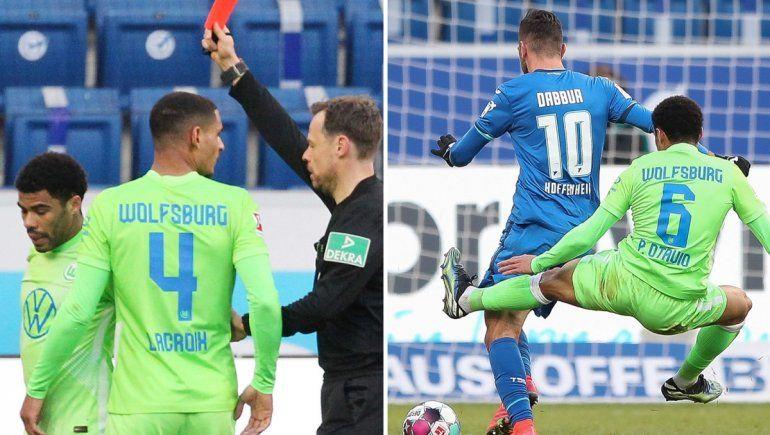 Una brutal tijera voladora y la bronca de los jugadores de la Bundesliga
