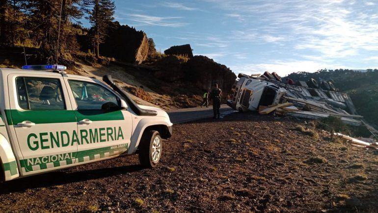 Camión cargado con maderas volcó sobre la ruta 242