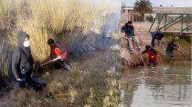 jovenes limpiaron la laguna del oeste: habia desde ollas a panales