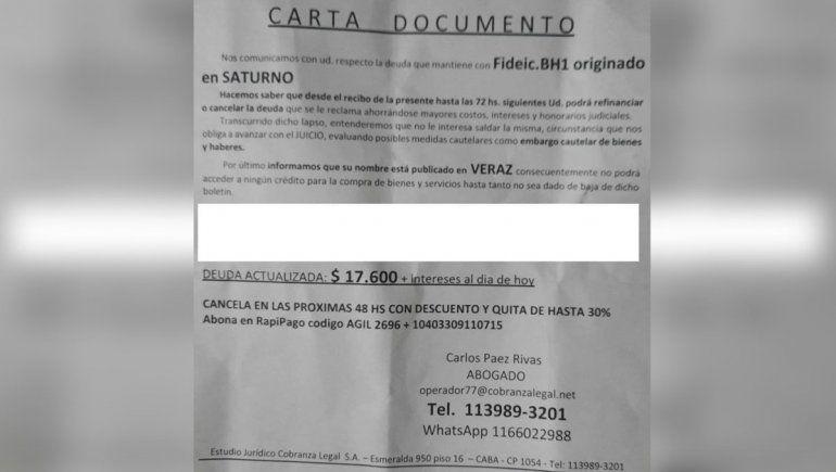 Vecinos de Cutral Co en alerta por cartas de deuda