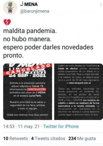 """Jimena Barón indignada por la nueva cancelación de su show: """"Maldita pandemia"""""""