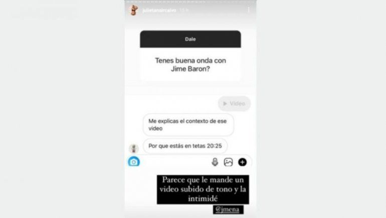 Julieta Nair Calvo reveló que envió un video íntimo a Jimena Barón