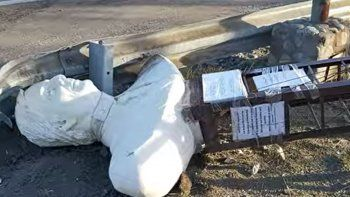 Vándalo intentó decapitar el busto de Kirchner y lo tiraron sobre la Ruta 40