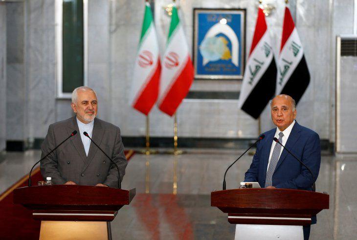 FOTO DE ARCHIVO: El ministro de Relaciones Exteriores iraquí Fuad Hussein habla durante una conferencia de prensa con el ministro de Relaciones Exteriores de Irán Mohammad Javad Zarif