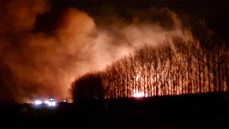 Impresionante incendio arrasa con una chacra y un frigorífico