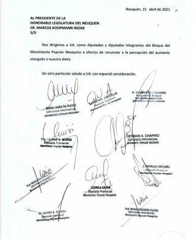 Los diputados del MPN renunciaron al aumento de la dieta por nota el 15 de abril.