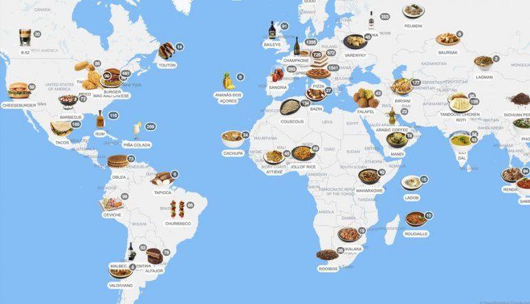 Taste Atlas es un planisferio donde figuran con iconos las comidas típicas de cada país o región