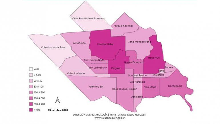 Casos confirmados activos de Covid-19 en la ciudad de Neuquén por área.