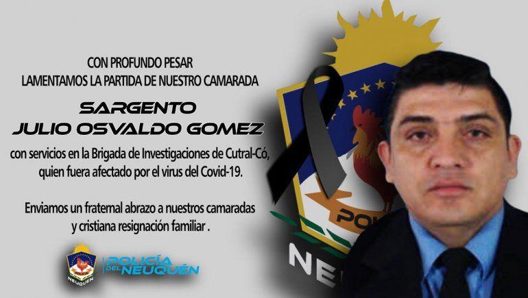Neuquén: hondo pesar por la muerte de un policía con Covid