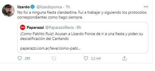 Lizardo Ponce sobre la fiesta clandestina: Fui a trabajar
