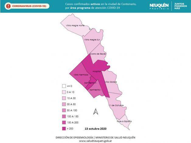 Mapa de Covid en Centenario, por Epidemiología de Neuquén.