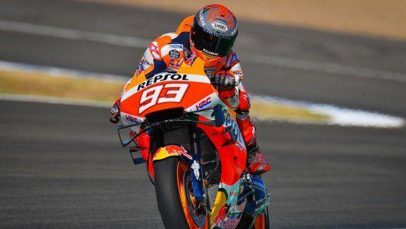 Marc Márquez se quedó con la referencia del viernes en Jerez de la Frontera, escenario de la primera fecha el Moto GP tras la pausa por la pandemia del Coronavirus.