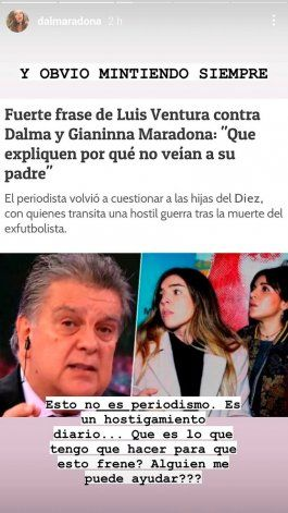 Dalma Maradona se hartó de Luis Ventura: