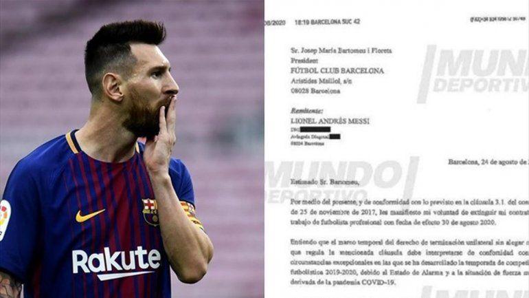 Salió a la luz el burofax que Messi le envió al Barcelona hace un año