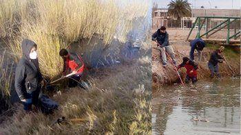 Jóvenes limpiaron la Laguna del Oeste: Había desde ollas a pañales
