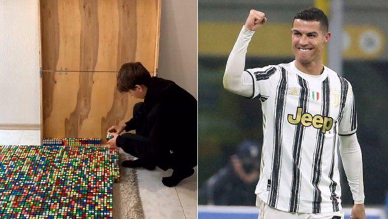 La creatividad reinó en TikTok con una figura de Cristiano Ronaldo usando exclusivamente cubos de rubik.