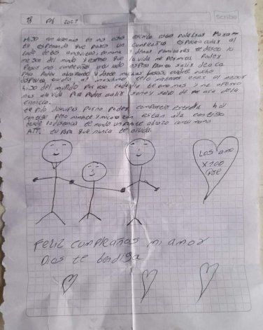Carta que escribió Julio Córdoba a su hijo antes de fallecer por Covid-19. Foto: Tomada de Sucre Ola Política