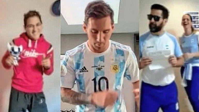 Al ritmo de Los Totora, Messi se sumó al bailecito de los olímpicos argentinos