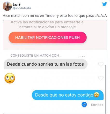 Tinder: se topó con su ex y su reacción fue brutal. Captura: Twitter