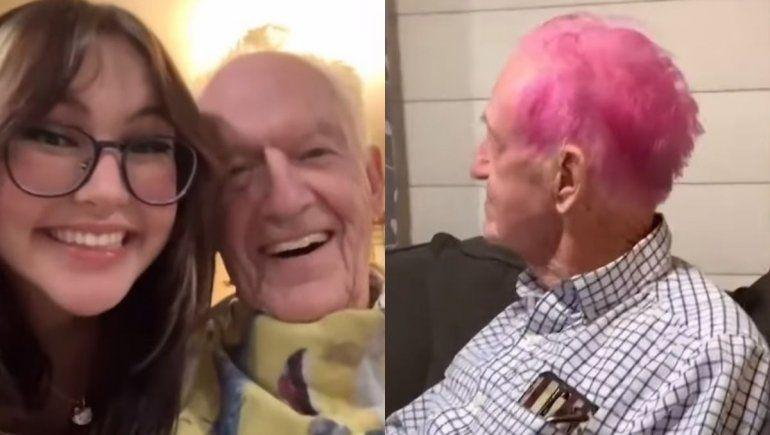 YouTube: abuelito se tiñe el cabello de rosa y se hace viral