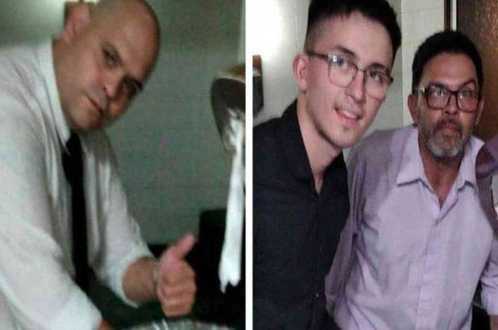 La foto de Diego Molina junto al cajón, y la de Claudio Fernández junto a su hijo.