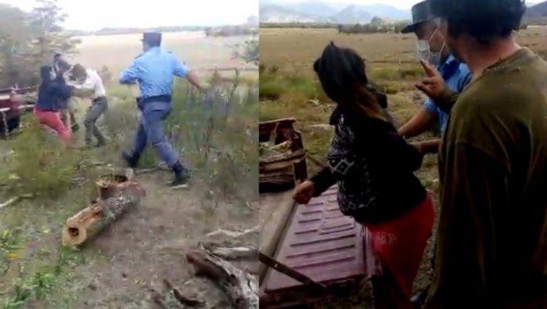 Video: tremenda agresión a una guardaparque que hacía una multa en San Martín de los Andes
