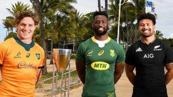 La foto que desató la bronca del plantel argentino. Están los capitanes de Australia, Sudáfrica y Nueva Zelanda, y excluyeron a Los Pumas.