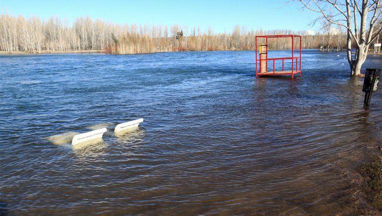 El río Limay viene al tope: la crecida, en fotos