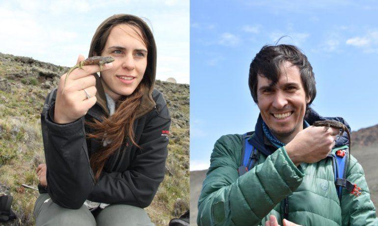 Jimena Fernández y Facundo Cabezas-Cartés, los becarios de CONICET Bariloche que también participaron del estudio.