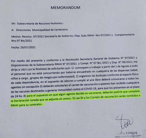 La Municipalidad de Centenario quiere resguardarse. Hará firmar una DDJJ a los empleados que no estén vacunados.