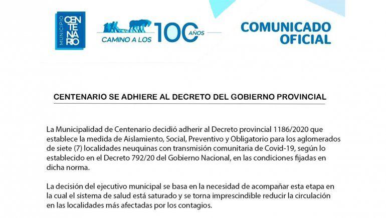El comunicado sobre el aislamiento en Centenario