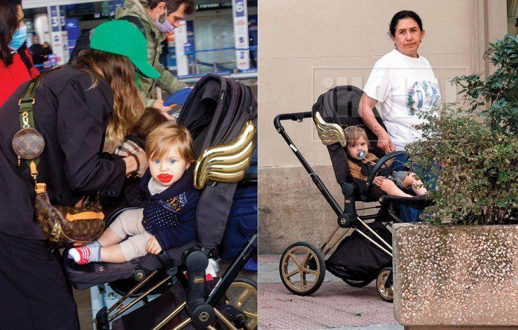 La China con su hijo Amancio y el niño que tuvo con Benjamín Vicuña con su niñera.