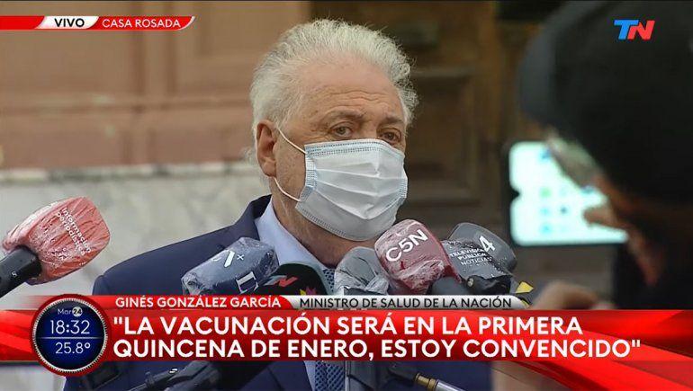 González García anunció que la vacunación podría arrancar en enero