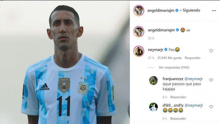 El comentario de Neymar a Di María en Instagram.