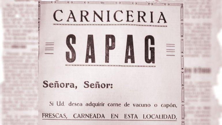 Un aviso publicitario de la carnicería Sapag, de septiembre de 1941, publicado por el diario Comentarios