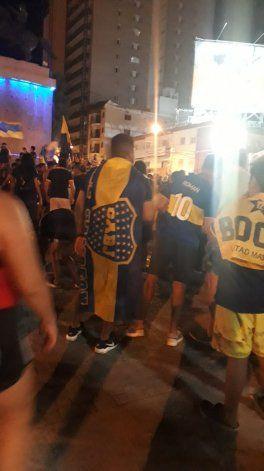Los festejos en el Monumento del Boca campeón