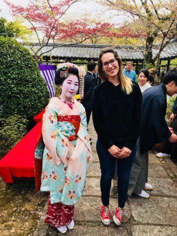Sol Althabegoiti, en uno de sus viajes por Japón.