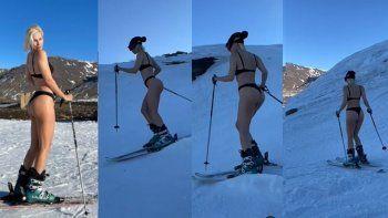 Ingrid Grudke cumplió el sueño de esquiar en bikini en Caviahue