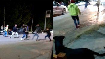 Violenta pelea entre dos grupos de jóvenes en plena vía pública de Centenario.