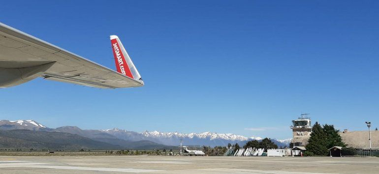 La imagen del aterrizaje de Jetsmart este jueves en Bariloche