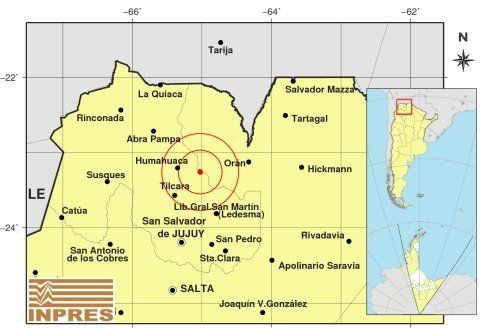 Imagen publicada por el Instituto Nacional de Prevención sísmica (INPRES).