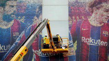 La gigantografía que quitaron del Camp Nou.
