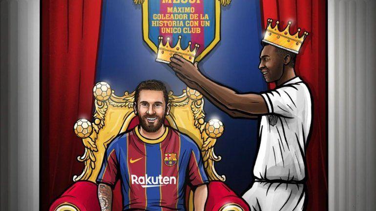 O Rei Messi: alcanzó el récord de Pelé de 643 goles con una misma camiseta