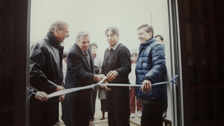 Cáceres junto al entonces Gobernador Jorge Sobisch y al Vice, Jorge Sapag.