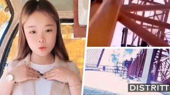 Viral: murió una influencer al caer de una grúa mientras grababa un video