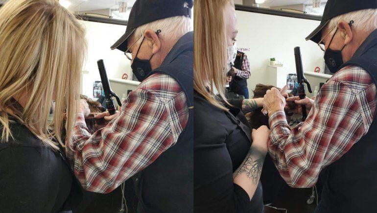 Facebook: abuelo entró a escuela de belleza para aprender a peinar a su esposa
