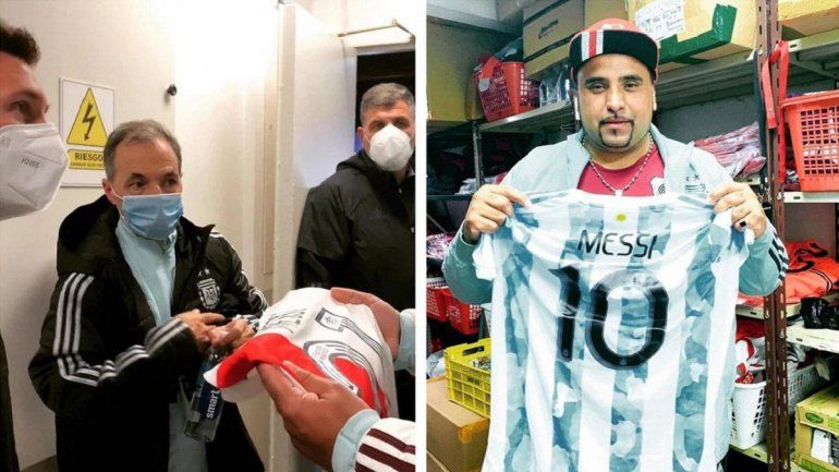 El regalo de Diego Fabre a Messi: la camiseta de River. Pantera recibió la 10 de Leo.