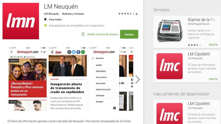 La app de LM Neuquén se puede bajar sin cargo desde Play Store.