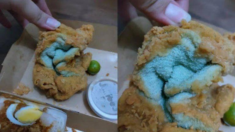Viral en Facebook: pidió pollo frito por delivery y le mandaron una toalla frita.