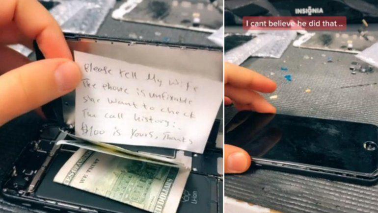TikTok: joven abrió celular para repararlo y encontró insólito mensaje.